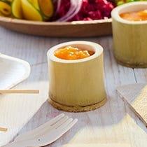Verrines, copas y cubiertos bambú / madera