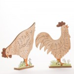 Gallina base madera 45,5 cm marrón/verde