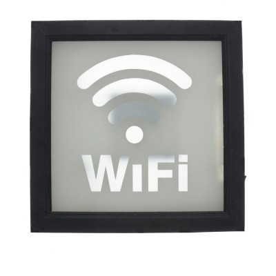 Cartel Wifi luminoso 30x30 cm negro-Objetos decorativos