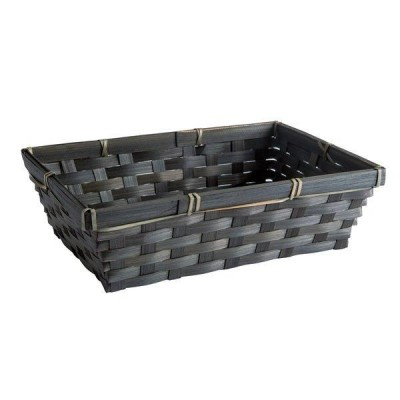 Cesta bambú rectangular 25,7x18x7,5 cm negra-Black Friday
