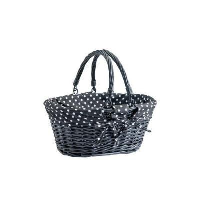 Cesta mimbre ovalada 35x29x15 cm negra-Decoración Black Friday