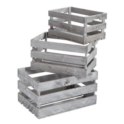 Set cajas de madera 45x30x23 39x26x20 y 32,5x22x17,5 cm gris - 3 unidades-Cubos expositores