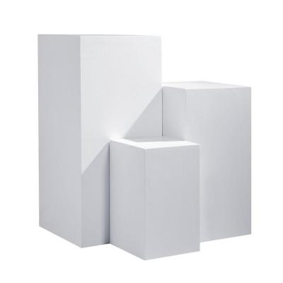 Set podium 45x45x100 40x40x75 y 30x30x50 cm blanco mate - 3 unidades-Expositores decorativos